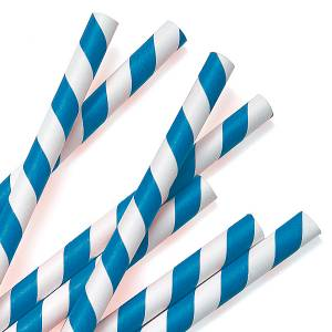 blue strip paper straw pack of 100