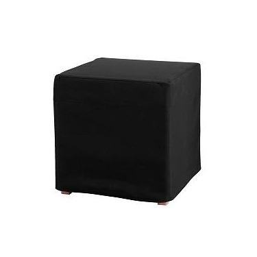 Black Leather Cube Stool
