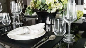 plates, crockery, wine glasses and plate clips.